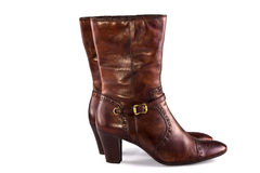 Bruine vrouwelijke laarzen Royalty-vrije Stock Fotografie