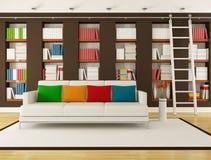 Bruine Woonkamer met boekenkast Stock Foto