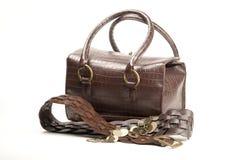 Bruine zak en riem Stock Afbeeldingen