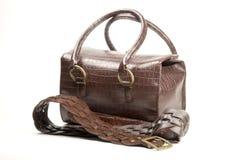 Bruine zak en riem Royalty-vrije Stock Afbeeldingen