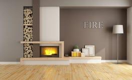 Bruine zitkamer met open haard Stock Afbeelding
