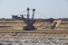 Bruinkool - Emmergraafwerktuig bij bovengrondse mijnbouw Garzweiler Duitsland Royalty-vrije Stock Foto's
