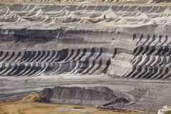 Bruinkool - Lagen van aarde bij bovengrondse mijnbouw Garzweiler Duitsland Royalty-vrije Stock Afbeelding