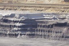 Bruinkool - Lagen van aarde bij bovengrondse mijnbouw Garzweiler Duitsland royalty-vrije stock foto's