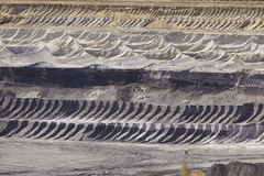 Bruinkool - Lagen van aarde bij bovengrondse mijnbouw Garzweiler Duitsland stock afbeelding