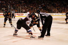 Bruins - Avalanche Faceoff Royalty Free Stock Photos