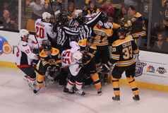 Bruins and Capitals fight. Members of the Boston Bruins and the Washington Capitals battle each other during the 2012 Playoffs, at TD Garden, Boston, MA Stock Image