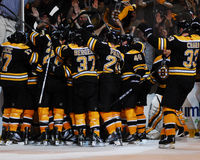 Bruins Celebrate!. Boston Bruins celebrate and overtime goal to give them a victory Stock Photography
