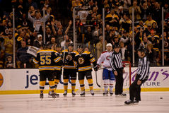 Bruins celebrate a goal Stock Photos