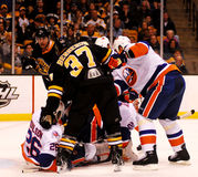 Bruins and Islanders battle in Boston. Royalty Free Stock Images