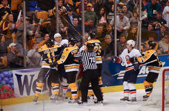 Bruins and Islanders fight Stock Photo
