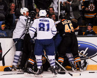 Bruins and Maple Leafs scrum. Stock Images