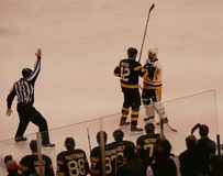 Bruins - Penguins NHL hockey confrontation Royalty Free Stock Images