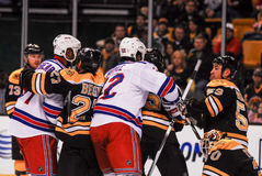 Bruins and Rangers Battle Royalty Free Stock Photo