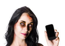 Bruised Zombie Woman with Cell Phone Stock Images