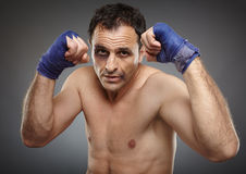 Bruised fighter ready to punch Royalty Free Stock Photos