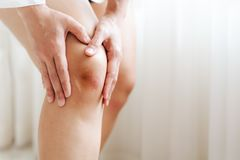 Bruised Knee Of Asia Woman Selective Focus Royalty Free Stock Photography