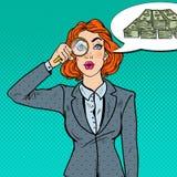 Bruit Art Amazed Business Woman avec l'argent trouvé par loupe Images libres de droits