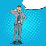 Bruit Art Amazed Businessman avec la loupe Images libres de droits