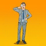 Bruit Art Amazed Businessman avec la loupe Image libre de droits