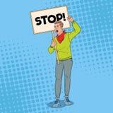 Bruit Art Angry Man Protesting sur le piquet avec la bannière vide Concept de grève et de protestation Guy Shouting sur la démons Illustration Libre de Droits