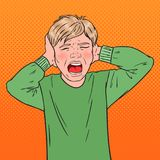 Bruit Art Angry Screaming Boy Tearing ses cheveux gosse agressif Expression du visage émotive d'enfant Photos stock