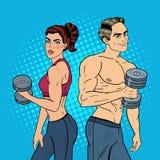 Bruit Art Athletic Man et femme s'exerçant avec des haltères Photographie stock