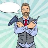 Bruit Art Bearded Barber avec des ciseaux et Hairdryer Photographie stock libre de droits