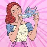 Bruit Art Beautiful Woman avec les chaussures de course Style de vie sain illustration libre de droits