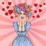 Bruit Art Beautiful Woman dans l'amour avec la coiffure de fleurs Photographie stock libre de droits