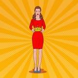 Bruit Art Beautiful Woman Holding une couronne Couronnement Victory Ceremony Illustration Stock