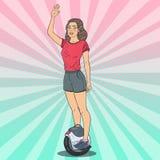 Bruit Art Beautiful Woman Riding Solowheel Transport électrique urbain illustration de vecteur