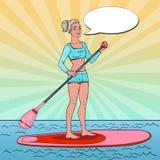 Bruit Art Beautiful Woman sur le support vers le haut du panneau de palette Fille dans le maillot de bain sur la PETITE GORGÉE illustration de vecteur