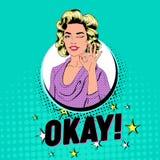 Bruit Art Beautiful Woman Winking et représentation de l'OK de signe Affiche joyeuse de vintage de fille avec la bulle comique de Illustration de Vecteur