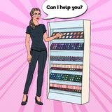 Bruit Art Beauty Product Shop Assistant dans l'uniforme Parfumerie et Cosmet Illustration de Vecteur