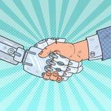Bruit Art Business Robot et poignée de main d'humain technologie d'intelligence Photos stock