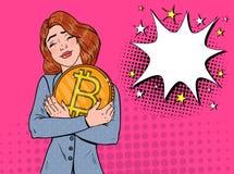 Bruit Art Business Woman avec la grande pièce de monnaie d'or de Bitcoin Crypto concept de devise Affiche virtuelle de la publici Illustration Stock