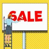 Bruit Art Business Woman dans le casque avec le panneau d'affichage Main-d'œuvre féminine appliquant la bannière de vente Concept Illustration de Vecteur