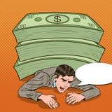 Bruit Art Businessman Crushed par la pile énorme de l'argent liquide illustration stock