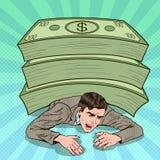 Bruit Art Businessman Crushed par la pile énorme de l'argent liquide illustration de vecteur