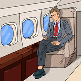 Bruit Art Businessman Flying Airplane et message textuel sur le téléphone portable Illustration de Vecteur