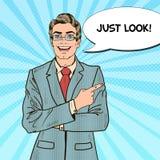 Bruit Art Businessman Pointing Copy Space avec la bulle comique de la parole Photo stock