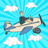 Bruit Art Businessman Riding Retro Airplane Photos stock