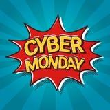 Bruit Art Comic Discount Poster de bannière de Web de vente de lundi de Cyber Images stock