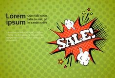 Bruit Art Comic Discount Poster Design de bannière de Web de vente avec l'espace de copie Image libre de droits