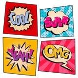 Bruit Art Comic Speech Bubble Set de vintage avec des expressions Photo stock