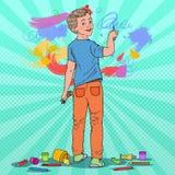 Bruit Art Creative Boy Drawing sur le mur Peinture joyeuse d'enfant avec des crayons sur le papier peint Photographie stock libre de droits
