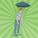 Bruit Art Depressed Young Man Under la pluie Type déçu confus Expression du visage Émotion négative illustration de vecteur