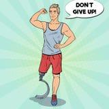 Bruit Art Disabled Man avec la prothèse de jambe Sport handicapé Athlète de Paralympic illustration stock