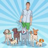 Bruit Art Dog Walker Jeune homme marchant avec beaucoup de chiens Image libre de droits